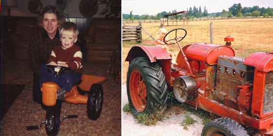 Matt's first tractor, age 2. Of course, mine's bigger.