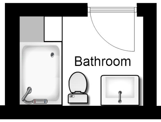 Basement bathroom floor plan after