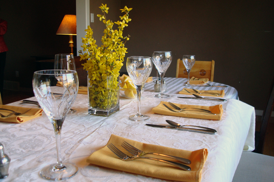 Table set ready for guests
