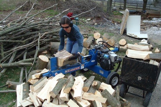 Me splitting wood