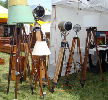 Lamps made out of old tripods