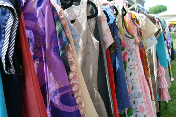 Racks of vintage clothing
