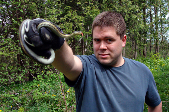 Matt holding the garter snake