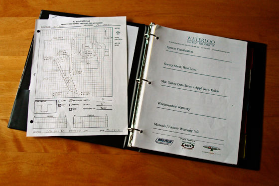 Documentation binder for our geothermal system
