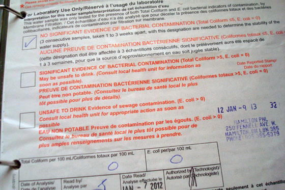 Water bacteria test form
