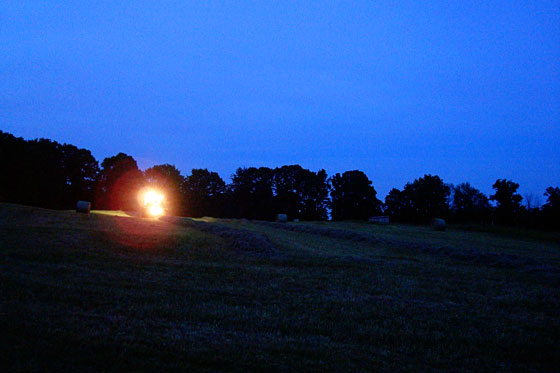 Baling hay in the dark