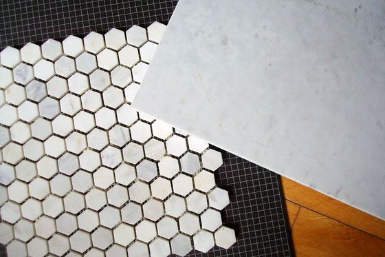 Marble slab with hexagon marble mosaic tiles