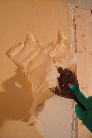 Removing wallpaper with a scraper.