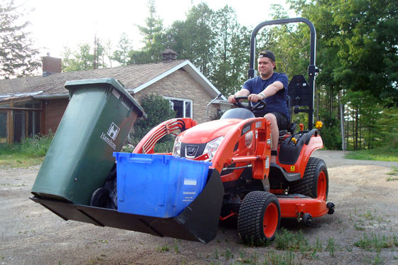 Tractor on garbage day