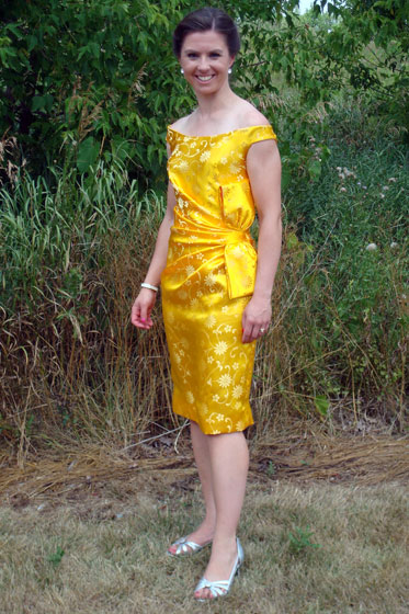 Yellow dress from sewing pattern Vogue 1108