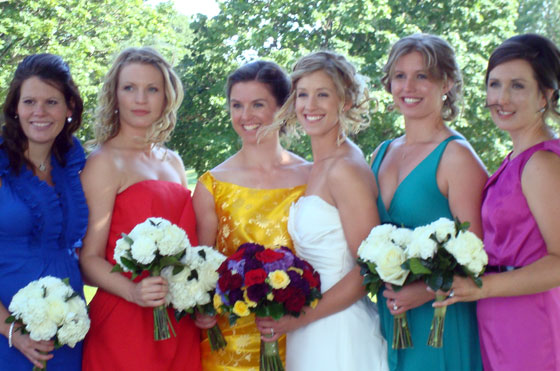 Different colour bridesmaid's dresses