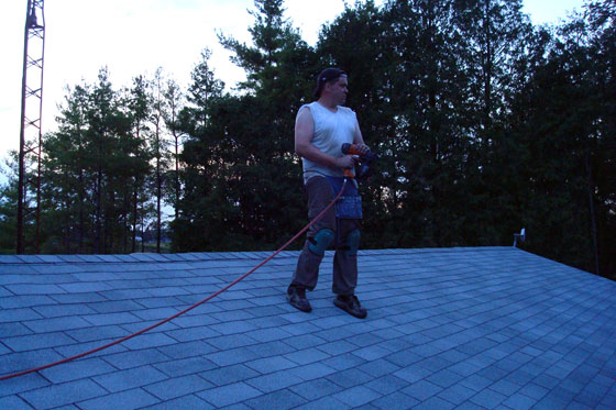 Matt on the freshly shingled roof