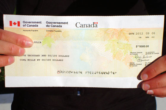Cheque from the government of Canada