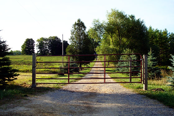 Gate at the bottom of the driveway