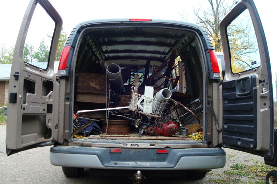 Van full of scrap metal