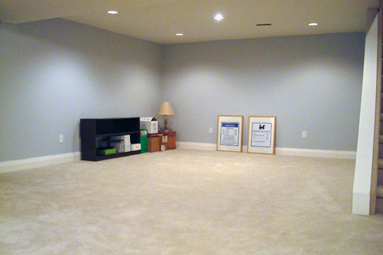 Carpeted basement