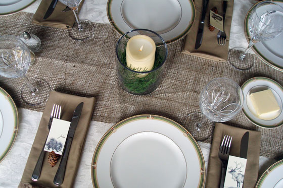 Simple Christmas party table setting