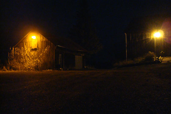 Exterior lights on the barn and driveshed