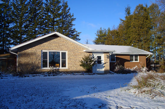 Our house with its first dusting of snow