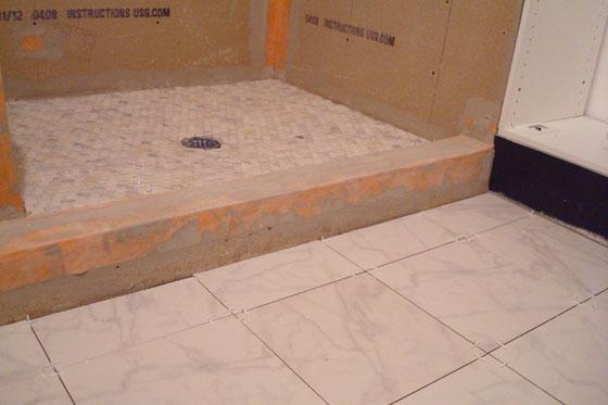 Tiled bathroom and shower floor