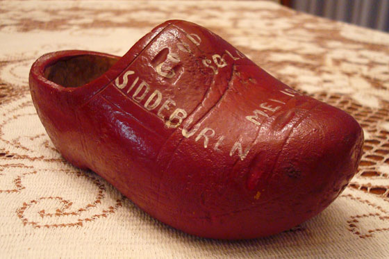 Painted wooden shoe