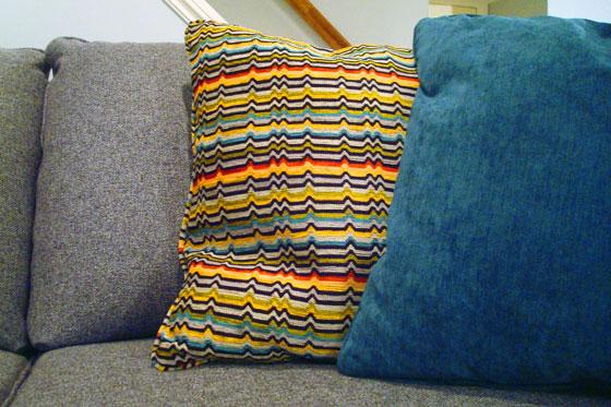 Retro striped cushion