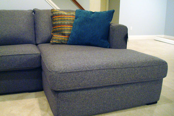 Chaise extension on a sectional