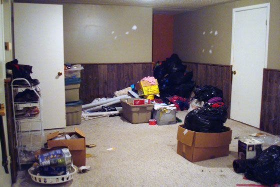 Clutter in a messy basement