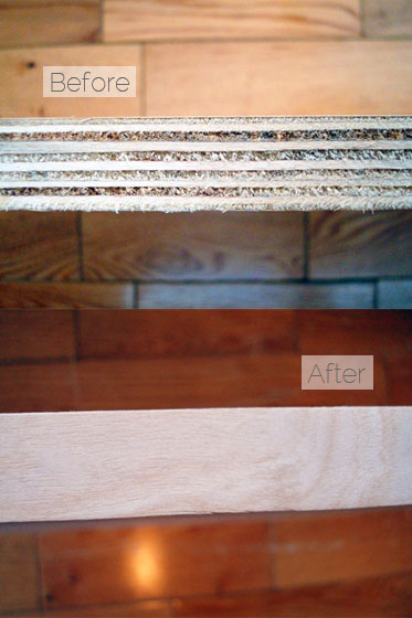 Finishing a plywood edge with oreglued veneer edging