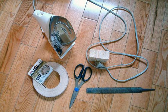 Materials to apply veneer edging