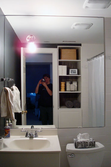 Mirrored wall above a bathroom vanity