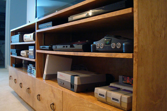 Video game systems in a TV cabinet