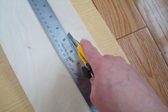 Cutting veneer with a ruler and utility knife