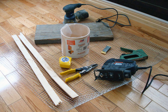 Tools and materials for building a rustic umbrella stand