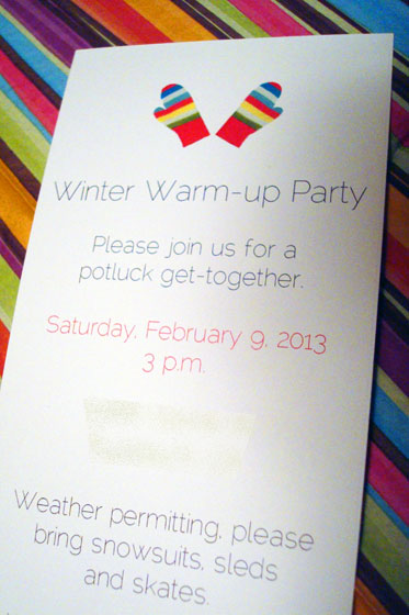 Winter warm-up party invitation