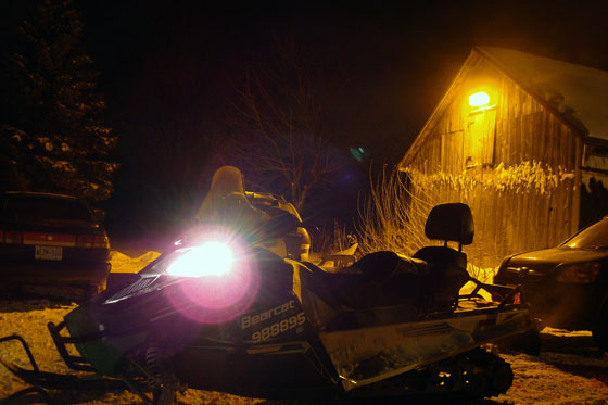 Snow mobile at night