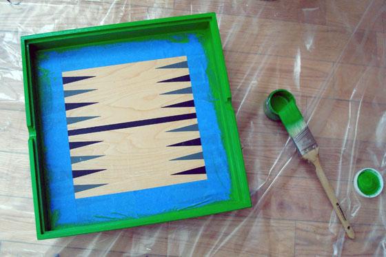 Painting a backgammon tray