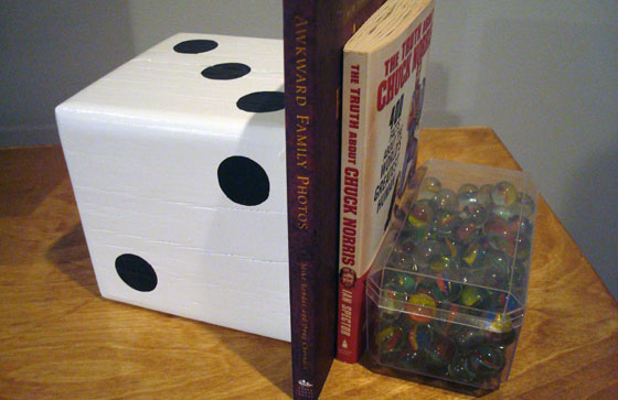 Large dice bookend