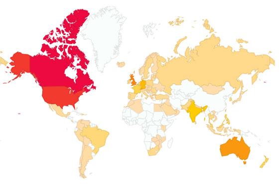 Map of global blog traffic
