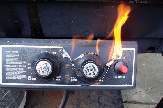 Barbecue dials on fire