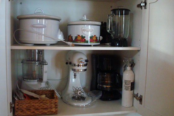 Small appliances kitchen cupboard