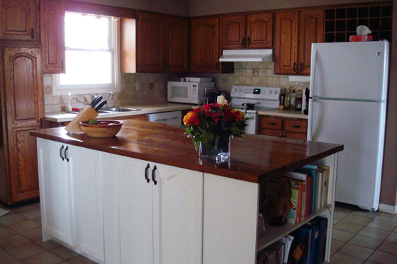 Kitchen island painted white with wood countertop
