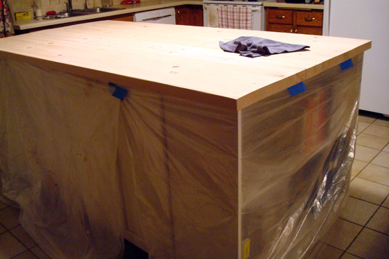Preparing to finish a wood countertop