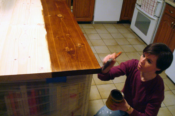 Staining a kitchen island