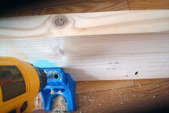Using a Kreg Jig to drill holes in a wood countertop