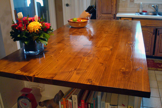 Build how to build wood island top diy bed making plans for Builder oak countertop