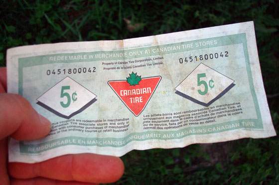5 cents Canadian Tire money