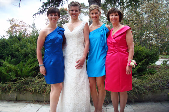 Bride, bridesmaids and mother of the bride dresses in blue and pink. Simplicity 2253 and Vogue 1182