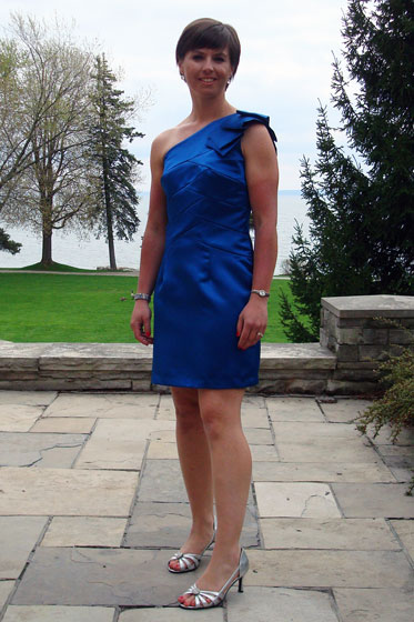 Blue one shoulder bridesmaid dress Simplicity 2253