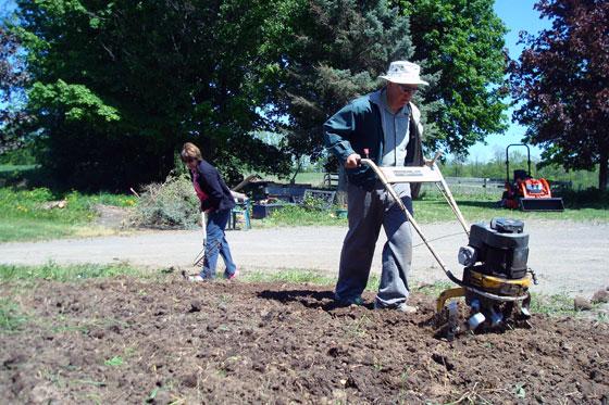 Rototilling a garden